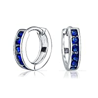925 Sterling Silver or Rose Gold Plated Silver or Gold Plated Colored CZ Classic Huggie Hoops from Bling Jewelry