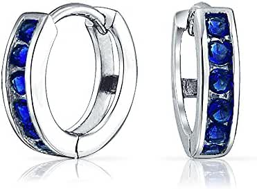 Bling Jewelry 925 Sterling Silver Color CZ Huggie Hoops