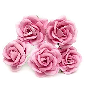 "1.5"" Pink Mulberry Paper Flowers Pink Wedding DIY Wedding Decor DIY Paper Bouquet Artificial Flowers Wedding Crafts Home Decorations Baby Shower Decor, 12 Pieces 9"