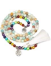 PWMENLK Jewelry,8MM Turquoise 108 Rosary Prayer Mala Beads Tree of Life 7 Chakra Bracelet Necklace