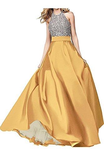 Satin Ballkleid Linie aermellos modisch Damen lang Partykleid Schnuerung Rueckenfrei Abendkleid Ivydressing Gelb Neckholder A pSUwxq0