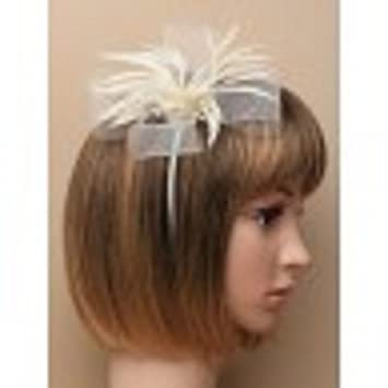 0f8f6e54c84d0 5924 Looped net   feather fascinator on matching aliceband Nude Coral Mocha  Or Cream Wedding Races