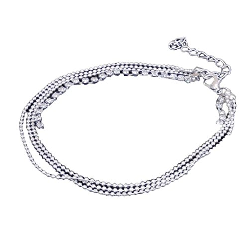 Crystal Wedge - Willsa Jewelry For Women, Multi Layer Silver Crystal Ball Bracelet Anklet Ankle Foot Chain