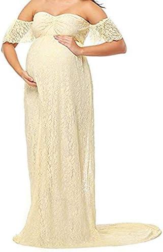 RICWINANN Robe de maternit/é /à Manches Longues et /épaules d/énud/ées en Dentelle pour Femmes