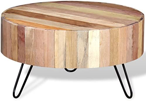 In De Mode Tidyard Handgemaakte salontafel, koffietafel, woonkamertafel, bijzettafel, 70 x 38 cm (diameter x H), nachtkastje, plantenstandaard, telefoonstandaard van massief hout  xztFsO3