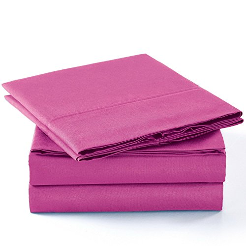 Unique Home Super Soft Microfiber 200 count Hot Pink KING Sheets & Pillow Set