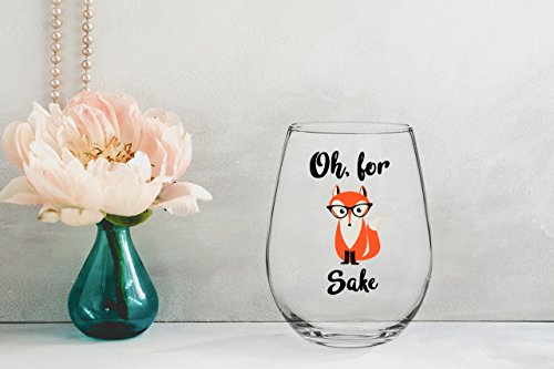 oh for fox sake 15 oz stemless wine glass unique fox