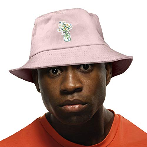 Daisy Flower in Glass Jar Unisex Cotton Bucket Hat Travel Bucket Hat Fishing Cap Pink