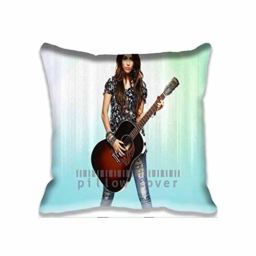 Cool Miley Cyrus with Guitar Throw Pillow Covers Design Actor Actress Celebrity Pillowcases for Home Sofa Decor ()