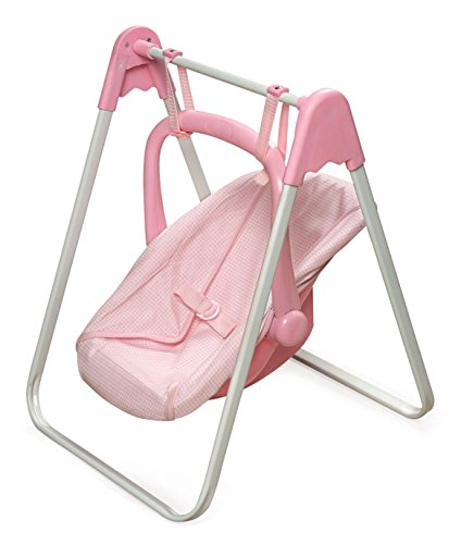 (Badger Basket Doll Swing and Carrier - Pink Gingham (fits American Girl)