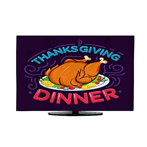 Fabric tv dust Cover Thanksgiving Dinner Card Design Thanksgiving Day Card with Turkey Illustration and Flourish Elements 65