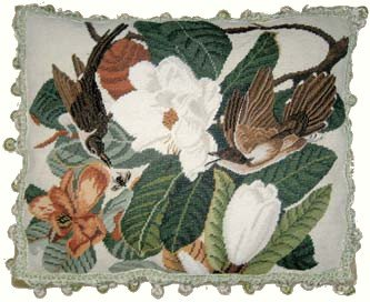 (Deluxe Pillows Birds and Magnolia - 18 x 22 in. needlepoint pillow )