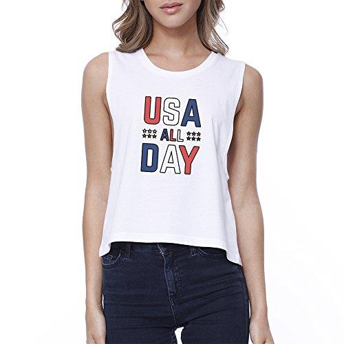 bianco T corta monocolore Usa donna manica 365 Stampa shirt 7AwUUz