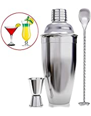 SlowTon Shaker Bar Set with Accessories - Martini Kit with Measuring Rig and Mixing Spoon - Professional Stainless Steel Bar Tools - Built-in Bartender Filter, 18 Oz (3PCS)