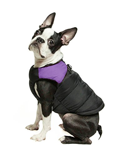 (Gooby - Padded Vest, Dog Jacket Coat Sweater with Zipper Closure and Leash Ring, Purple,)