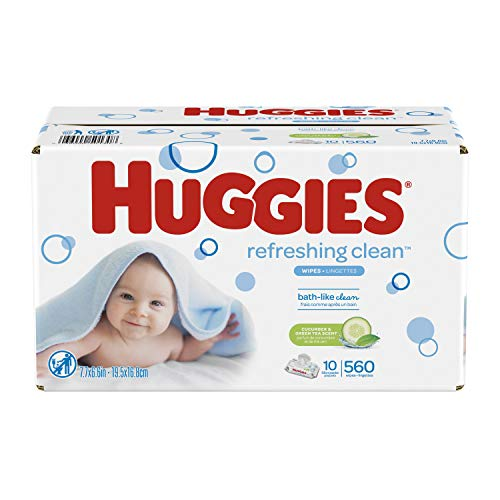 HUGGIES Refreshing Clean Scented Baby Wipes, Hypoallergenic, 56 Count, Pack of 10