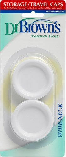 Dr. Brown's Natural Flow Wide Neck Storage Travel Caps Replacement, 2 Pack