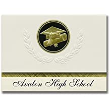 Signature Announcements Avalon High School (Wilmington, CA) Graduation Announcements, Presidential style, Elite package of 25 Cap & Diploma Seal. Black & Gold.