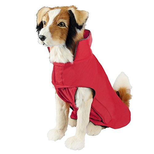 SymbolLife Dog Coat 100% Waterproof Nylon- Fleece Lined Jacket Reflective Dog Jacket Warm Dog Coat Climate Changer Fleece Jacket Easy On and Off Size M, Red