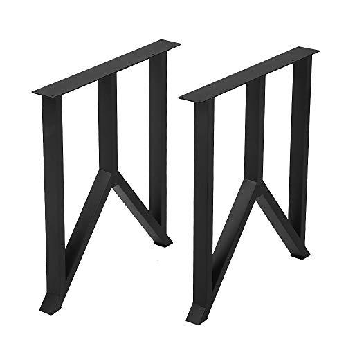 "Metal Furniture Legs Metal Legs for DIY Coffee Table Furniture Bench, Cast Iron Coffee Table Legs 2 Pcs(H27.95""xW24""),Industrial Black Dining Table Legs,Rustic Heavy Duty Square Tube Desk Legs"