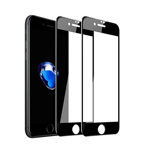 約設定ガス禁じるiPhone 7液晶保護 3Dタッチ対応、 iPhone 8 ガラスフイルム【2枚セット】最大硬度9H/高透過率/自動吸着/6DカーブLCD保護フィルムアンチコリジョン指紋保護/全面フルカバー 4.7インチ(黒)