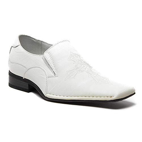 Youth Little Boys L-72113 Leather Lined Cross Design Squared Toe Loafer Dress Shoes, White, 10 by Jazame