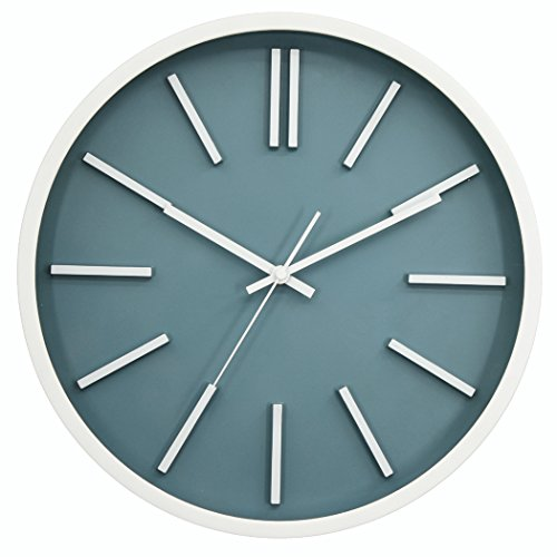 - JAPO ART Modern Minimalist Wall Clock, Silent Non-Ticking Quartz Decorative Battery Operated Wall Clock for Living Room Home Office School Plastic Frame Glass Cover (Blue III, 14'')