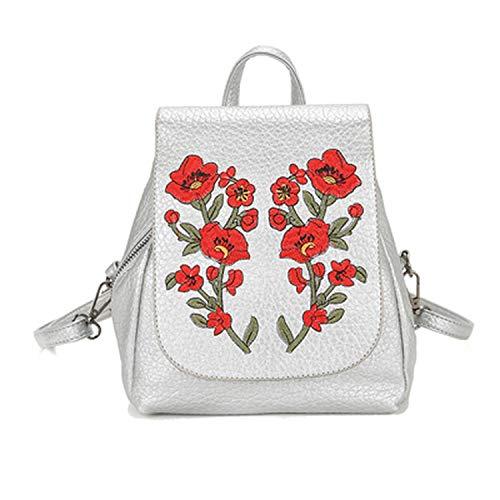 Women Leather backpack Embroidery Flowers Female Shoulder Bag,Beige,12 inches (Fl Port Flowers Orange)