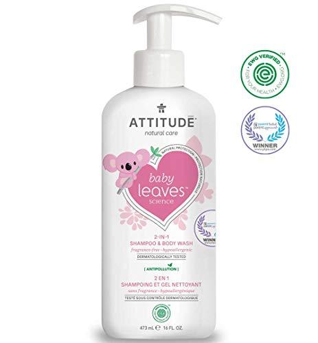 ATTITUDE Baby Leaves, Hypoallergenic 2 in 1 Shampoo & Body Wash, Fragrance Free, 16 Fluid - Shampoo 1 Baby
