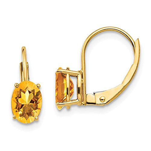 - 14k Yellow Gold 7x5mm Oval Citrine Leverback Earrings Lever Back Drop Dangle Gemstone Prong Fine Jewelry For Women Gift Set