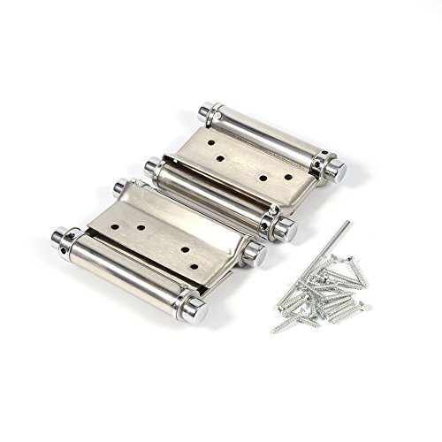 3 Inch Stainless Steel Double Action Spring Hinge For Saloon Cafe Door Shop Swing Door - Silver , 2Pcs