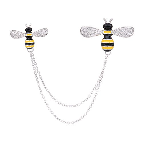 ck and Gold Enamel Crystal Double Bumble Bee Pin Brooch Collar Lapel Pins with Chain ()