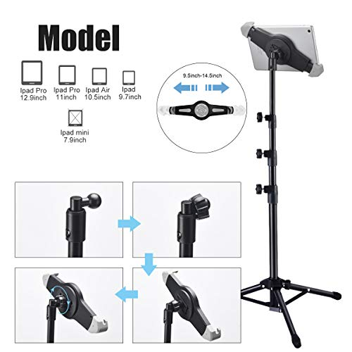 "Ipad Tripod Stand, Bijisi Height Adjustable 20 to 60 Inch Tablet Tripod Mount for Ipad Pro 12.9""/11"", Ipad Air 10.5"", Ipad 9.7'' and More 9.5"" to 14.5"" Tablets with Bluetooth Remote Control As Gift"