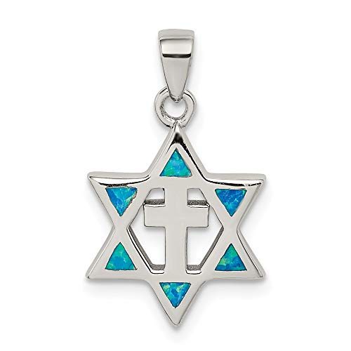 (Sterling Silver Star Of David Simulated Opal Cubic Zirconia Pendant)