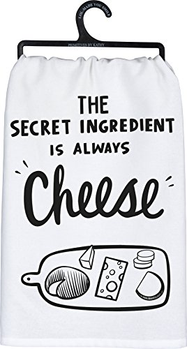 Primitives by Kathy Tea Towel, The Secret Ingredient is Always Cheese, Machine Washable 100% Cotton, 28