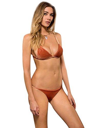 Trajes de Baño Bikini Brasileño Push Up Bañadores y Bikinis Triangl Deportivos de Mujer Swimwear Trajes para Mujeres Bonitos Bikiny Brazilian Escotado por Detrás Trikini Naranja
