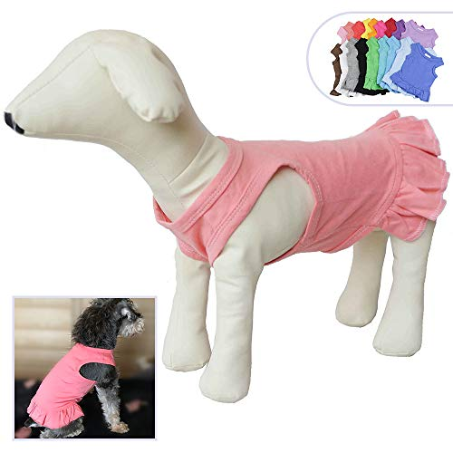 Pet Clothes Small Dog Clothing Blank Color Sport Dress T-Shirts Tee Dresses Tanks Top for Small Size Female Dogs Summer Spring Pet Costumes 100% Cotton (XL, Lotus Pink)]()