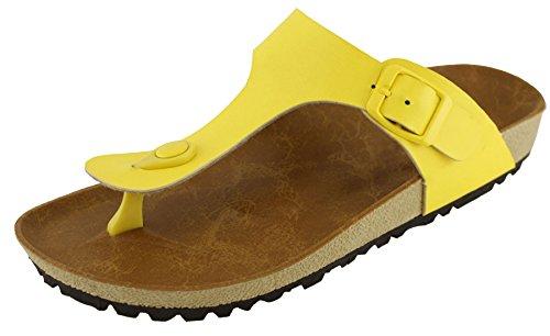 Junior Handbags Yellow - Cambridge Select Women's Thong Slip On Slide Platform Sandal (10 B(M) US, Yellow)