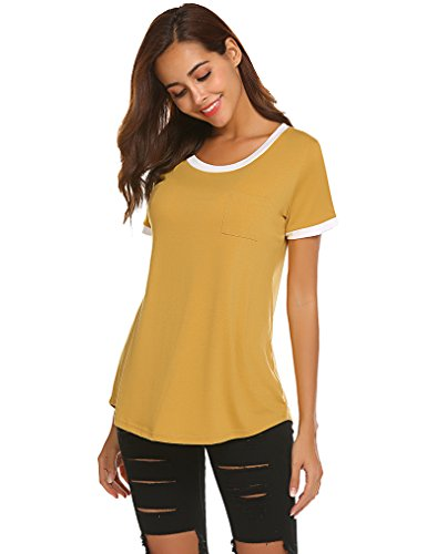 Women Ladies Jersey Short Sleeve Scoop Neck Color Block Baseball T-Shirt M Yellow ()