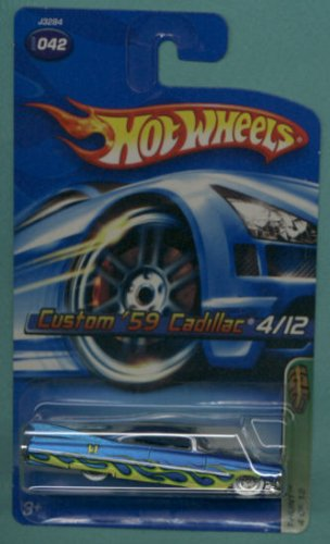 Mattel Hot Wheels 2006 Treasure Hunt 1:64 Scale Blue With Yellow Flames 1959 Custom Cadillac 4/12 Die Cast Car #042