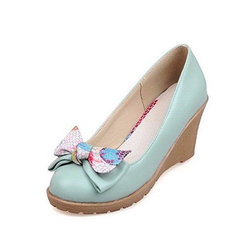 Allhqfashion Dames Pull Op Pu Ronde Dichte Teen Hoge Hakken Stevige Pumps-schoenen Blauw