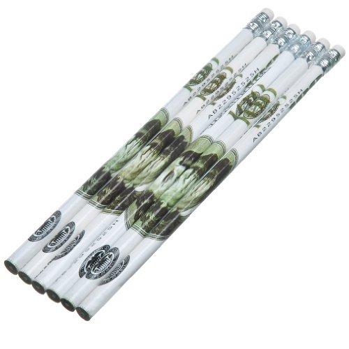 $100 Dollar Bill Design (Benjamin) Wooden Office School Pencils - Pack of 6