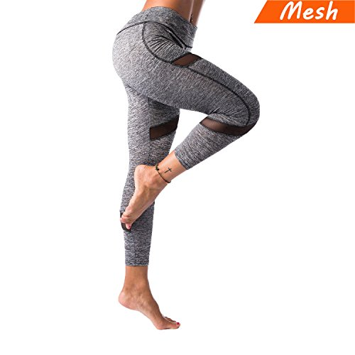 KT Sports Yoga Leggings, Gym Workout Pants Fitness Mesh Leggings for Women (Mesh Dark Gray, Medium)