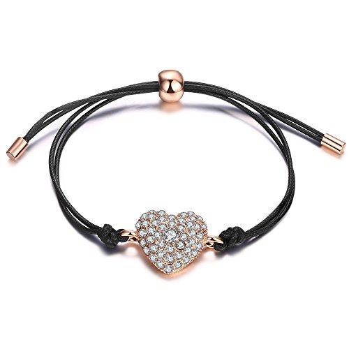 - Teniu 14K Rose Gold Plated Heart Bracelet Adjustable Charm Cubic Zirconia Bracelet for Women Girls Rope Jewelry Bracelet(Rose gold)