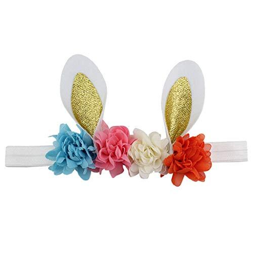 (FEDULK Easter Babies Headband Flower Rabbit Ears Children Holiday Creative Novelty Gifts Hair Band(B, One Size))