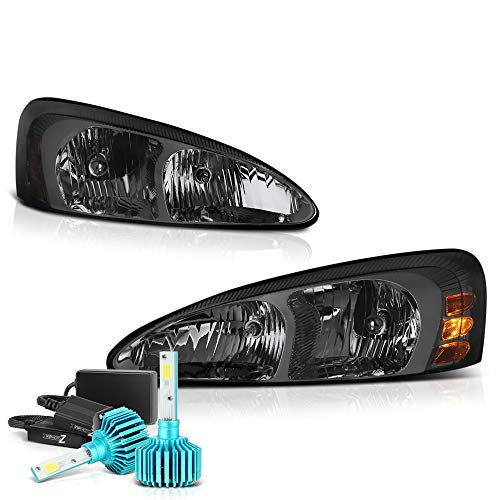 - VIPMOTOZ For 2004-2008 Pontiac Grand Prix Headlights - Built In Color Changing RGB LED Low Beam, Metallic Chrome Housing, Smoke Lens, Driver and Passenger Side