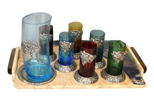 Shabbat Sabbat Kiddush Cup 8 Pieces Colorful Set Including One Big Glass & Pewter Cup With