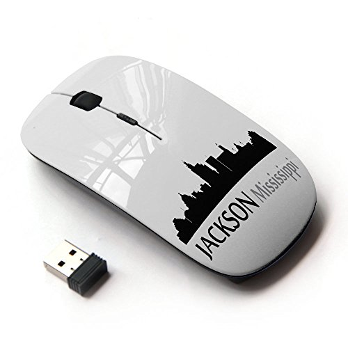 STPlus Jackson, Mississippi USA United States of America City Skyline Silhouette Postcard 2.4 GHz Wireless Mouse with Ergonomic Design and Nano Receiver