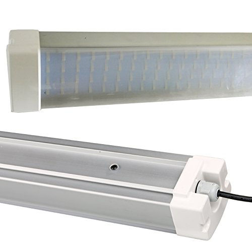LEDRadiant 30w LED Linear Lighting Vapor Tight Fixture: 3300 Lm, 5000K (Natural White), Striped Lens, IP65 Water, Dust and Corrosion proof, UL Listed, NO side chain connector, 5 year warranty - Light Side Mount Fluorescent Strip