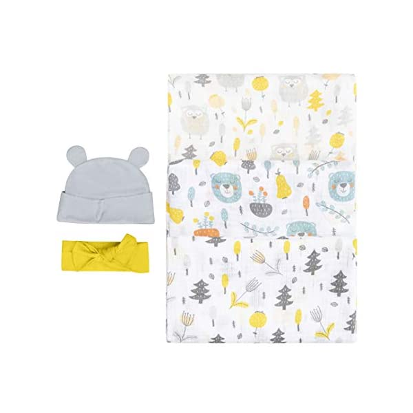 Bubzi Co Woodland Swaddle Muslin Receiving Blanket Set – Pack of 3 –Gender Neutral Design -Soft 100% Cotton Fabric – 47 x 47 inch- 120 x 120cm – Infant Swaddling Blankets for Baby Registry Burp Diaper